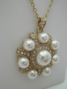 NEW!! Vintage Inspired Pearl Pendant with Many MINI Faux Diamonds for that extra Sparkle! Gorgeous, 18 inch Gold Toned Chain!
