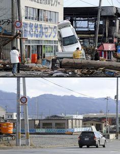 Japan Tsunami One Year Later  This combination of pictures shows the view of a tsunami hit area of Ofunato, Iwate prefecture on March 14, 2011 (top) and as the scene appears on Jan. 15, 2012 (bottom). Credit: Toshifumi Kitamura / Toru Yamanaka, AFP / Getty Images