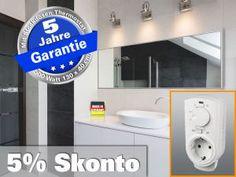 Infrarot Spiegelheizung mit Thermostat, Heizspiegel Bad Heizung ESG Glas Leistung 500 Watt, recht für Räume bis 12 qm - Format: 130x40 cm - Energie effiziente infrarot Elektroheizung
