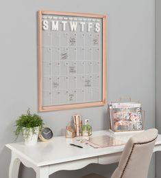 Office Wall Decor, Office Walls, Gold Office, Creative Office Decor, Office Spaces, Bedroom Office, Calendar Board, Calendar Ideas, Family Calendar Wall
