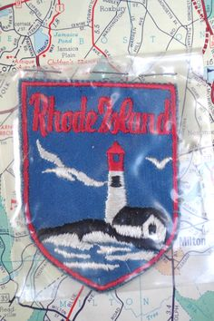 Vintage 1970s Rhode Island Travel Patch Souvenir Cloth Embroidered Ocean Light House Seagull by retrowarehouse on Etsy