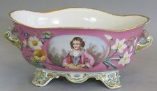 Large 19th C. Antique French Old Paris Center Bowl  c. 1850  Hand-Painted sevres