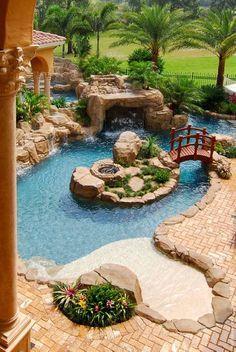 Backyard Wedding Pool, Backyard Beach, Swimming Pools Backyard, Ponds Backyard, Swimming Pool Designs, Backyard Patio, Beach Pool, Indoor Pools, Garden Wedding