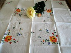 136. Vintage hand embroidered tablecloth hand cross stiched