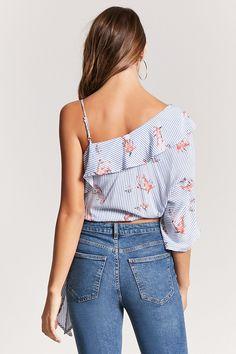 961c18bf87bda Sheinside Oblique Shoulder Color Block Top Bow Tie Slim Summer One Shoulder  Shirt Striped Blouse in 2018