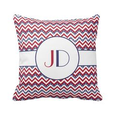 A fully customizable monogrammed patriotic chevron pillow.  The zigzag pattern has the original USA flag colors.  #monogram #patriotic #zigzag #pattern #chevron #4thjuly #IndependenceDay #monogrammed #patriotism #veteran #patriot