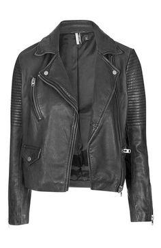 Topshop 'Orbit' Leather Moto Jacket $320.00 Free ShippingItem #5147288