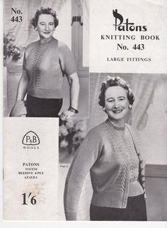 Vintage 1940s  Paton's Knitting Pattern No 443  by jennylouvintage