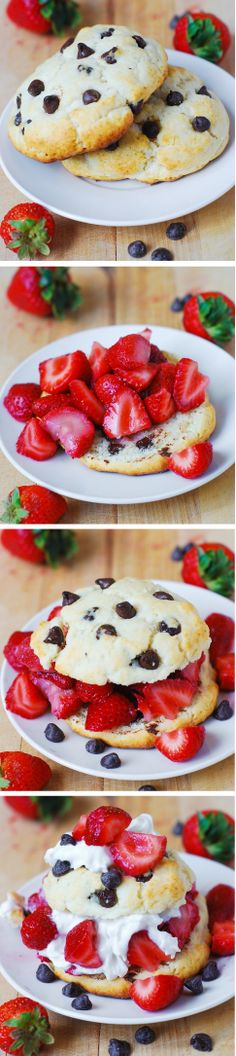 Chocolate chip strawberry shortcakes. It's like eating huge, crispy on the outside and soft on the inside chocolate chip cookies with strawberries and syrup! JuliasAlbum.com #berry_desserts #berry_cake #strawberry_recipes