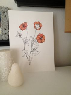 Ink and Watercolor Poppies by EmilyStudio on Etsy, $35.00