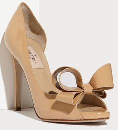 Valentino Couture Beige Patent Leather Bow d'Orsay Peep Toe Pumps