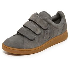 Jerome Dreyfuss Run Velcro Sneakers (458 AUD) ❤ liked on Polyvore featuring shoes, sneakers, ardoise, studded sneakers, leather shoes, leather sneakers, leather skate shoes and velcro sneakers