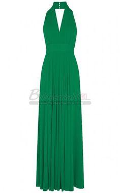 #bridesmaiddresses Halter Long Green Chiffon Bridesmaid Dress BDS-CA291