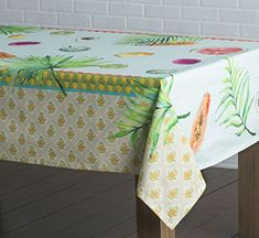 Maison Du0027 Hermine Tropical Leaf 100% Cotton Tablecloth 54 Inch By 54 Inch