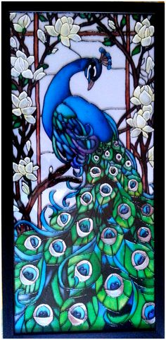 Peacock In Stained Glass Print On A Transparency And Attach To Dollhouse Window