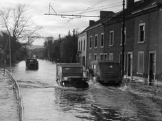Floodwaters from the Meuse river in Namur, Belgium January 1945 during the Battle of the Bulge after the snow melted. (Photo courtesy o...