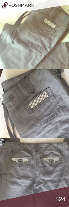 NWT INC LINEN PANTS Gray trouser style linen pants . Detailed pockets on front and back. Draw string. INC International Concepts Pants Trousers