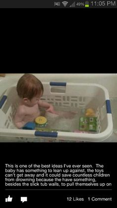 Giving a baby bath isn't the easiest thing! Great idea!