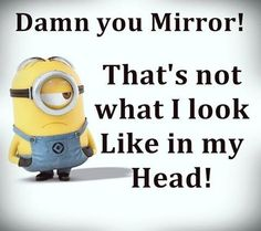 Minions, Mirror, quote, citat, funny, haha. Damn you Mirror! That's not what I look like in my Head!