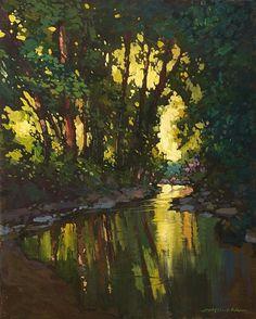 Love Jan Schmuckals tonalist paintings reminiscent of the Arts & Crafts Era.