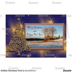 Golden Christmas Tree Greeting Card