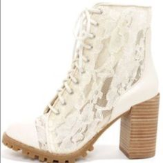 LF lace booties perfect boho/hipster style  White lace booties from LF brand is report signature. Worn once. Fits an 8. Great condition! LF Shoes