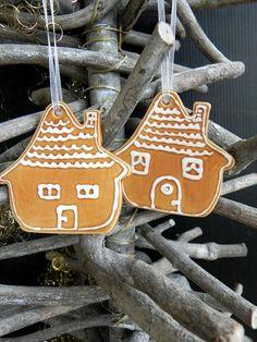 Christmas ornament Set of 2 House Xmas Ornaments home pottery