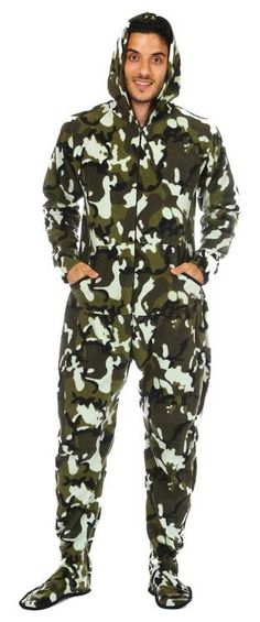 a59d55bc62 Camouflage Adult Hooded Footed Pajama