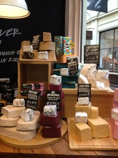 Soap display from Lush in Convent Garden in London - soaps displayed like cheese :D