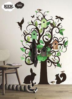 Muursticker Birdhouse Tree met kapstok, groen