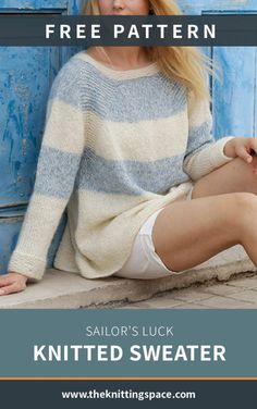Sailor s Luck Knitted Sweater FREE Knitting Pattern Sailor s Luck Knitted Sweater FREE Knitting Pattern U St wer ulrikeveenhof H keln This lovely light-weight sweater is the perfect top for nbsp hellip Free Knitting Patterns For Women, Knit Patterns, Summer Knitting Projects, Jumper Knitting Pattern, Knitting Sweaters, Knitting Blogs, Knitting Ideas, Pulls, Daily Wear