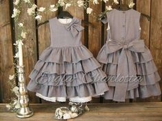 Girls polka dot dress in gray with white dots. Polka dot flower girl dress in cotton. Girls ruffle dress. Toddler girls special occasion
