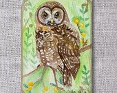 ooak-Owl original ACEO painting- buy 3 get 1 free Owl Watercolor, Original Animal Painting,