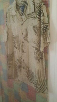 3707c488b41a Caribbean Joe Mens Silk Hawaiian Shirt sz L Beige and Olive Green   CaribbeanJoe  Hawaiian