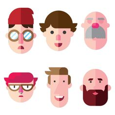 Faces by Tyler Nickell, via Behance character illustration Illustration Plate, Illustration Simple, Illustration Design Graphique, Character Illustration, Graphic Illustration, Character Flat Design, Simple Character, Character Design Animation, Game Character