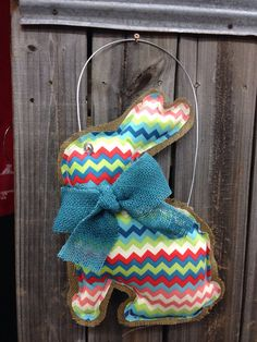 Burlap bunny Easter door hanger  by EverTwoClever on Etsy, $25.00