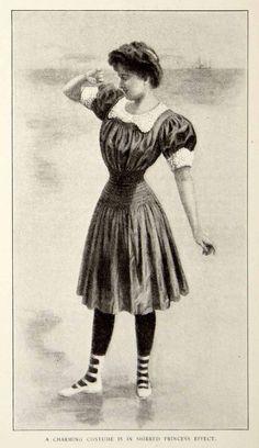 1906 Print Edwardian Women Art Nouveau Bathing Suit Ocean Beach Swimming YDL3 #ArtNouveau