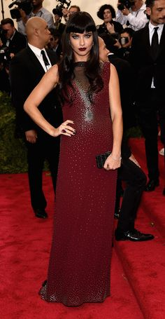 Adriana Lima, wearing a Marc Jacobs dress attends the 2015 Met Ball.