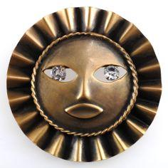 Joseff of Hollywood Ruffle Sun God Brooch Pin