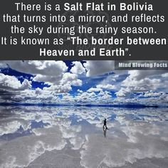 Salt Flat in Bolivia, travel destinations, tourist spots, wanderlust Oh The Places You'll Go, Cool Places To Visit, Places To Travel, Travel Destinations, Dream Vacations, Vacation Spots, Tourist Spots, Vacation Places, Mind Blowing Facts