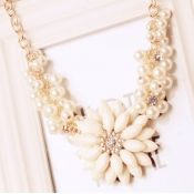Fashion Flowers White Metal Necklace
