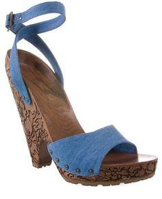 Stella Mccartney Denim Sandal With Carved Wooden Heel