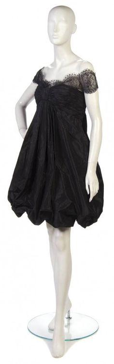Vintage Oscar De La Renta Black Taffeta and Lace Bubble Cocktail Dress