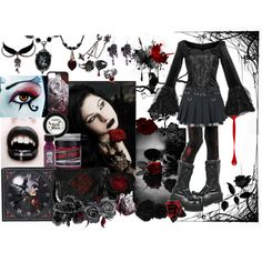 """""""The Roses Dripped Blood"""" by octoburfrost on Polyvore #goth #gothic #gothgoth…"""