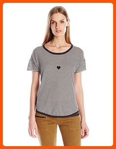 VELVET BY GRAHAM & SPENCER Women's Lux Cotton Stripe Short Sleeve Love Sweater, Charcoal, X-Large - All about women (*Amazon Partner-Link)