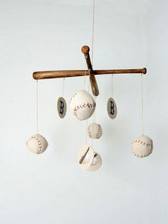 Baseball Nursery Mobile  Vintage, use small wooden baseball bats and real baseballs