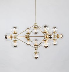 Roll & Hill Chandelier - 4 Sided, 15 Globes (Brushed brass/Clear) I like this one a lot/also pendant lights for kitchen