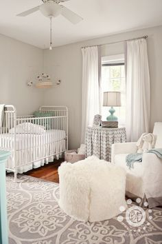 love this soft nursery, esp patterned rug. grey, white and aqua Project Details: Crib - RH Rug (no longer available);RH Glider; RH Bedding - custom white velvet and linen; Chest - painted from CL, color BenMoore (name unknown); Pouf and Aqua Frame - Z Gallerie; Drapes - PB linen with custom trim; Lamp - HomeGoods; Wall Color - BenMoore Moonshine