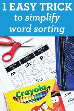 Aren't we all looking for a way to simplify the management of 25+ students and all their little word sort cards each week? A reader told us this tip a few years ago and we couldn't believe how simple and easy it was. It's a CRAYON. Here's what you do… Buy