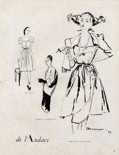 Robert Piguet 1947 Pierre Mourgue Fashion Illustration